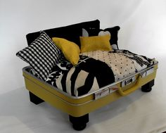upcycled vintage suitcase  with designer fabric pillows