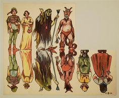II. 83. [diverse Figuren: Prinz; Fräulein; Hexe; Teufel; Junge; Bäuerin]