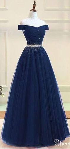 0017859e21c Off the Shoulder Beaded Prom Dresses Navy Blue Long Prom Dresses APD3420