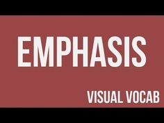 Emphasis defined - From Goodbye-Art Academy - YouTube