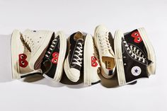 The most-popular COMME des GARÇONS Play x Converse Chuck Taylor collection is now available to purchase directly from Nike's website. The Chuck 70 Converse Outfits, Cdg Converse, Comme Des Garcons Sneakers, Comme Des Garcons Play, Converse Chuck Taylor, Ss16, Sneakers For Sale, High Top Sneakers, Chuck Taylors