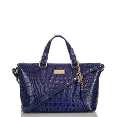 The #Brahmin Mini Asher Tote in Turkish Blue Melbourne is perfect for on the go when you don't have too much to carry! #MyBrahminFall