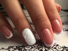 White elegant nail art