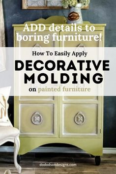 Got boring furniture? I added decorative mouldings made from paper clay to create an amazing on your plain furniture. It's all in the details! Upcycled Furniture, Shabby Chic Furniture, Vintage Furniture, Colorful Furniture, Cool Furniture, Decorative Mouldings, Chalk Paint Furniture, Do It Yourself Home, Diy On A Budget