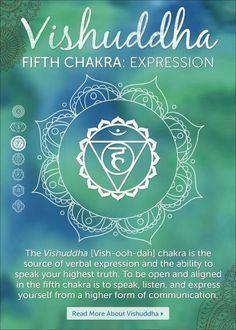 El quinto chakra, Vishuddha, es el primero de los tres chakras espirituales.     En el área de la garganta, este chakra regula las regiones anatómica