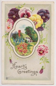 Vintage postcard...pansies  thatched roof English cottage
