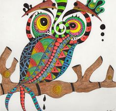 Zentangle Owl On Bristol Board
