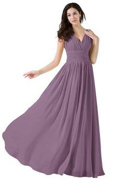 24f44c2e0a5 ColsBM Alana Mauve Elegant V-neck Sleeveless Zip up Floor Length Ruching Bridesmaid  Dresses Plum