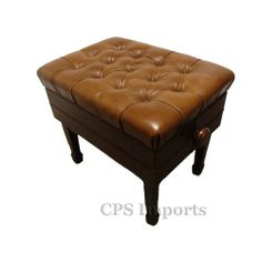 "Walnut Satin Leather Adjustable Artist Concert Piano Bench by CPS Imports. $234.99. The Leather Adjustable Artist Concert Piano Bench is 23"" long and 16"" deep. It weighs about 34 pounds. Its height can be adjusted from 18"" to 21"".  The concert piano bench is made of solid hard wood with heavy duty mechanism (silent micro adjustment). The seat is covered with 100% premium genuine leather. The leather we use on our bench is the top quality leather you can find. I..."