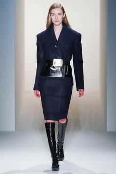 Manuela, our crush from Elite Model Look, walked the runway at #CalvinKlein Fall 2013 fashion show.