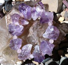 Sacred Crystal Energy Bracelet with Stunning Raw Amethyst by MaNithyaSudevi, $50.00