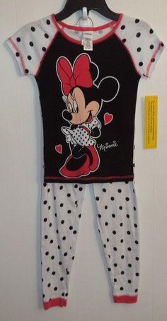 Disney Minnie Mouse 2 Piece Girl's Pajama Set Size 8 Black Top White Bottoms #Disney #PajamaSet Toddler Pajamas, Girls Pajamas, Pajama Set, Black Tops, Minnie Mouse, Disney, Kids, Jackets, Clothes
