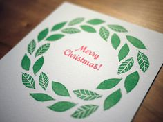 Letterpress and Linocut Christmas Wreath Card by CompassAndCloud, $4.00