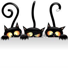 Divertente Black Cats Cartoon con Pannello Bianco