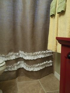 Genius // Burlap Shower Curtain with rows of White Ruffles. $69.00, via Etsy.