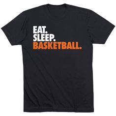 Basketball T-Shirt - Eat Sleep Basketball | Short Sleeve Basketball Tee | Basketball Player Apparel | Adult Medium Basketball Shirt | Black