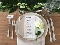The Chalk Spot show how a simple menu card and a single flower can create the perfect place setting.