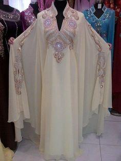 DUBAI Fancy Abaya Jalabiya KAFTANS Ladies Maxi Dress Evening Gown Crystal Beaded Chiffon Ivory Evening Dresses F11061