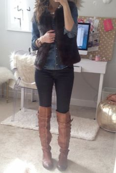black skinnies, chambray, fur vest and tan riding boots Fur Vest Outfits, Casual Outfits, Fashion Outfits, Work Outfits, Western Outfits, Fall Winter Outfits, Autumn Winter Fashion, Winter Clothes, Fall Fashion