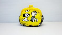 Yellow Black gingham Snoopy coin /change pouch/purse/wallet w plastic frame by Elephant9693 on Etsy