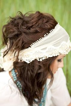 hair so pretty... wrap hair in a lace trimmed scarf, they are easy to find and affordable. Boho look.