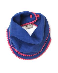 Royal Blue Pom Pom Bib for Girls with Pink Trim
