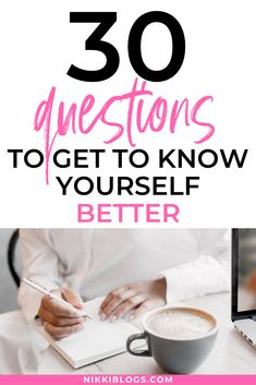 Explore 30 questions to get to know yourself better. Use this post as a quiz to take right now or as journal prompts to reflect on once a day for the next month. Challenge yourself to become a better version of you this year. Learn how with tips here. #gettoknowyourself #journal #selfcare #selflove #journalprompts