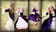 Plum flower girl rosette dress  with ivory by DaisiesandDamsels, $314.99