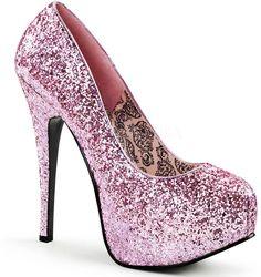 Sexy Hidden Platform Glitter Stilettos Club Pumps High Heels Shoes Adult Women #Pleaser #PumpsClassics