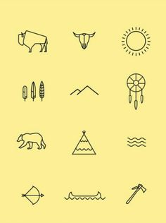 Native American iconography by Josh Griggs. - Native American iconography by Josh Griggs. Mini Tattoos, Trendy Tattoos, New Tattoos, Small Tattoos, Tatoos, Feather Tattoos, Nature Tattoos, Small Nature Tattoo, Simple Tats