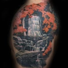 Orange Leaves On Tree Waterfall Upper Arm Tattoos For Men #back tattoo men #love you to the moon and back tattoo #red back tattoo