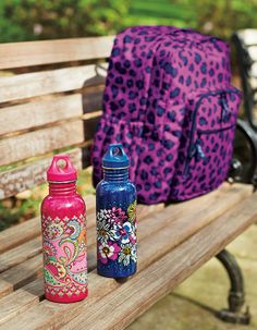Vera Bradley Fall 2014:  Lighten Up Large Backpack in Leopard Spots and  25 oz. Water Bottle in Pink Swirls and African Violet. #BrightestYearEver
