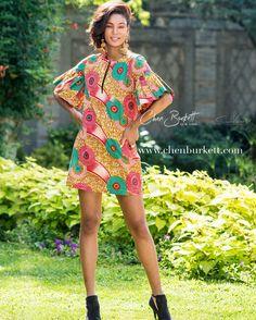 African Print Dress: Green Island Shift Daisy by CHENBURKETTNY