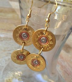 Double brass bullet casing earrings by StampedByStephanie on Etsy, $24.00