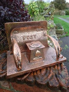 """Ink Well And Post Holder. Arts & Crafts copper desk stand with ink well and """"In"""" and """"Out"""" post holder by J & F Pool of Hayle in Cornwall. Copper Work, Copper And Brass, Hammered Copper, Bronze, Craftsman Style Bungalow, Copper Crafts, Arts And Crafts Furniture, Craft Desk, Design Movements"""