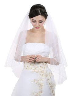 2T 2 Tier Pencil Edge Center Gathered Bridal Wedding Veil - White Fingertip Length 36' ** Check out this great product.