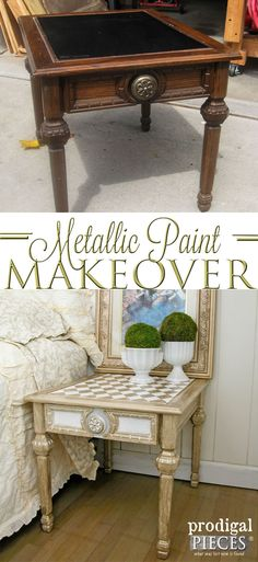 Refresh Your Outdated Furniture with Metallic Paint | Harlequin Design and Style by Prodigal Pieces | www.prodigalpieces.com