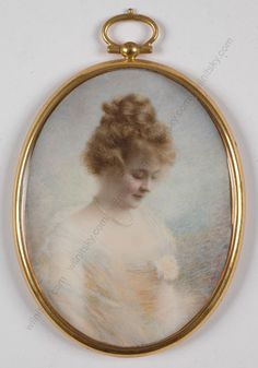 """Mouse over image to zoom   Claude E. Quivey (1871-1943) """"Portrait of a Young Lady"""", Miniature, 1918"""