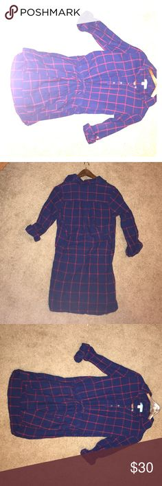 Francesca's Plaid Dress cute, cozy, casual dress. was bought at Francesca's. button up, navy and red. Medium. worn four times or less. comes up about five inches above the knee. dina be Dresses Mini