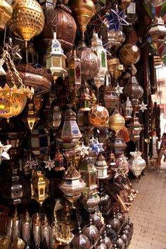 shop Handcrafted lanterns at the souk in Marrakech, Morocco (by Angry Mr-T).Handcrafted lanterns at the souk in Marrakech, Morocco (by Angry Mr-T). Moroccan Lamp, Moroccan Lanterns, Moroccan Design, Moroccan Style, Moroccan Lighting, Moroccan Bedroom, Moroccan Interiors, Souk Marrakech, Beautiful World