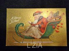 Vtg Postcard Artist Gunn Santa in Sleigh Gold Gilt Embossed Unused | eBay