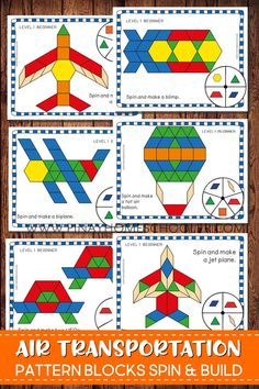 Play Pattern Blocks Spin and Build to create beautiful air transportation.  Puzzle pictures included are: airplane, biplane, blimp, helicopter, jet plane, parachute, rocket, spaceshuttle, UFO and hot air balloon.  #preschool #homeschool #stem #stemchallenge
