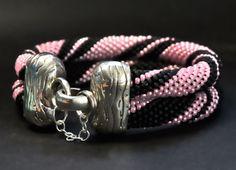 Seed bead bracelet  Double rope in pearl pink by dancingstarbeads