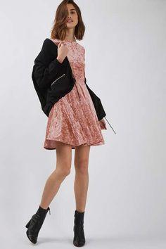 Crushed velvet skater dress with low scoop at back. #Topshop