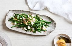 Green beans with feta, pine nuts and preserved lemon. Photo – Eve Wilson. Styling – Lucy Feagins / The Design Files. Styling Assistant – Nat Turnbull.