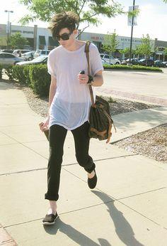 Burberry Tuxedo Dress Pants, Louis Vuitton Messenger Bag (Saumur 43), American Apparel Tee, Chloé Sunglasses