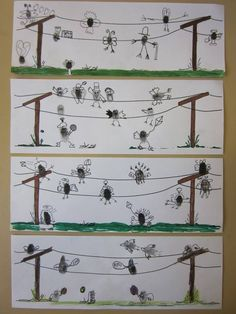 darw telephone poles and wires print Thumbprints on wires ass drawing to turn prints into little birds on wires. Kindergarten Art, Preschool Art, Fingerprint Art, 2nd Grade Art, Handprint Art, School Art Projects, Collaborative Art, Art Lessons Elementary, Art Graphique