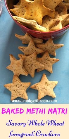 Baked Whole Wheat Methi Matri or Crackers is a delicious tea time snack as well as a yummy teething food from the Indian Cuisine.