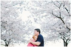 Portland engagement photos taken on the waterfront during the cherry blossoms in the spring