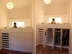 Great idea for a small kids room!